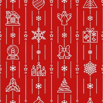 クリスマスのシームレスなパターン、冬のアイコン、クリスマス、新年の赤い背景、紙のラップ、。