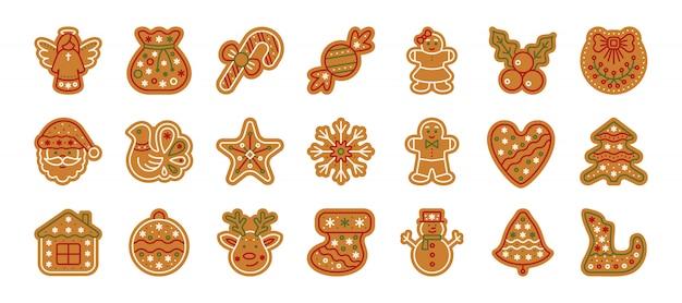 クリスマスジンジャーブレッド、クリスマスクッキー、ホームベーキングの甘い食べ物、ジンジャービスケットフラット漫画アイコンセット。