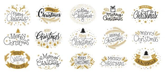 メリークリスマスゴールドブラックレタリングテキスト、クリスマスグリーティングカード、新年希望バナー。