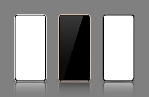 携帯電話の画面、スマートフォンのモックアップ、表示テンプレート、ブラック、ローズゴールド、ホワイトフレーム。