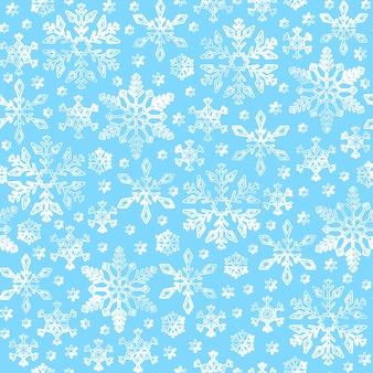 スノーフレークのシームレスなパターン、冬ライン雪背景、紙のラップ、。