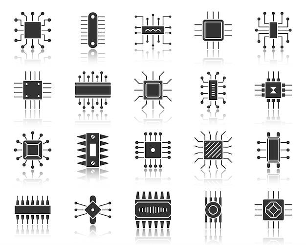 Микрочип глиф, набор иконок черный силуэт, микропроцессор, процессор, материнская плата компьютера, микросхема.