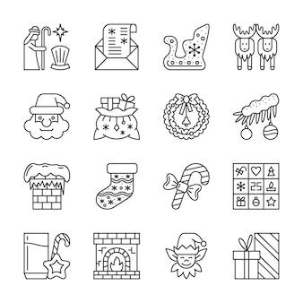 クリスマス、新年の行アイコンセット、冬の休日の線形記号、アウトライン記号、編集可能なストローク。