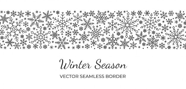 Снежинка бесшовные границы, рождество, новый год, зимний снег рисунок, линия на белом фоне.