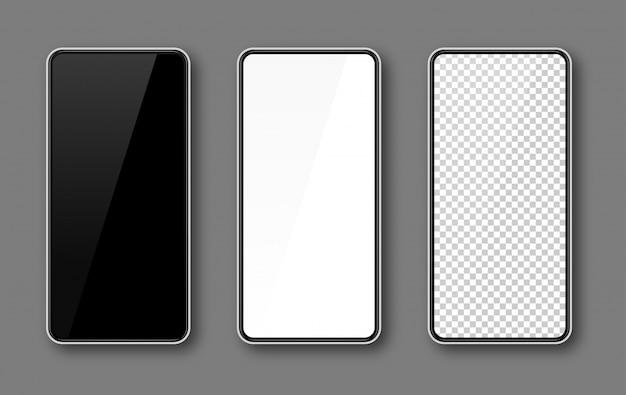携帯電話の画面、スマートフォンのモックアップ、黒、白、透明な表示テンプレート、白いフレーム。