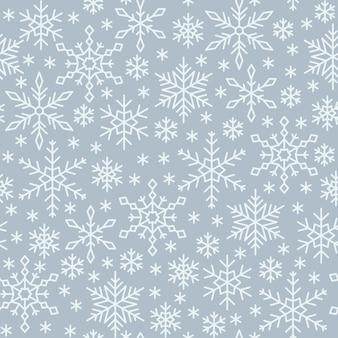 スノーフレークシームレスパターン、冬ライン雪背景、ペーパーラップ、生地印刷、壁紙の装飾。