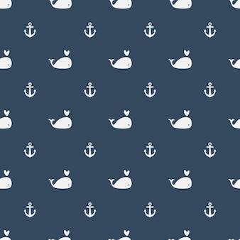 青い背景にクジラのシームレスなパターン
