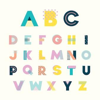 Красочный алфавит мемфисский стиль с геометрическим перфорированным пастельным цветом.