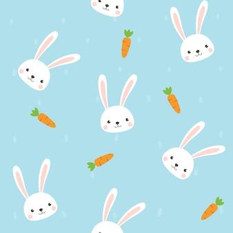 ニンジンのシームレスなパターンを持つかわいいウサギのキャラクター