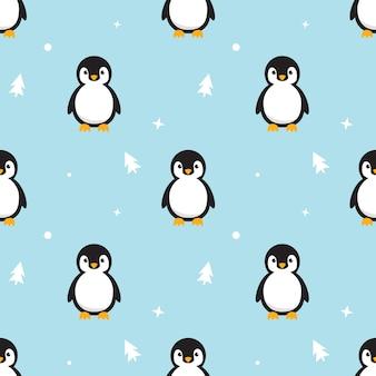シームレスなパターンスカイブルーの背景に立っている赤ちゃんペンギン