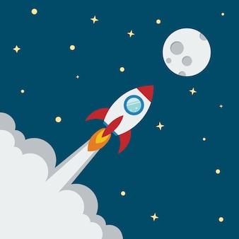 プロジェクトの立ち上げと開発プロセスのためのロケットフラットデザインコンセプト。