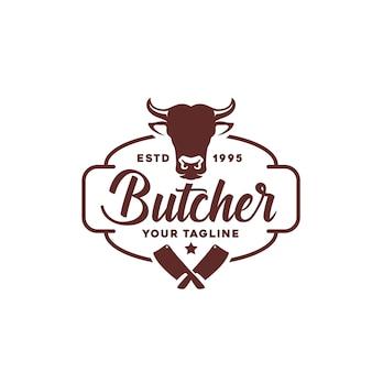 Урожай ретро мясной магазин лейбл дизайн логотипа