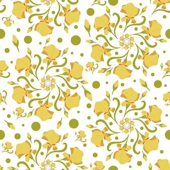 定型化された花、蘭の花とのシームレスなパターン