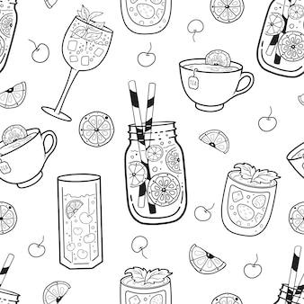 さまざまな飲み物とのシームレスなパターン:お茶、コーヒー、飲み物。外形図。