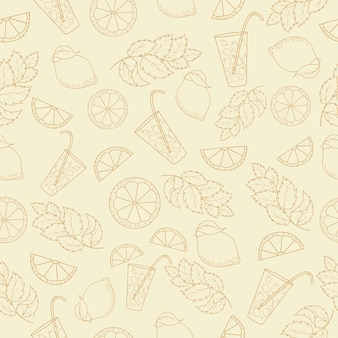Безшовная картина холодного коктеиля с листьями лимона и мяты. чертеж плана