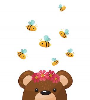 かわいいクマとミツバチ