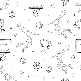 バスケットボール落書きコンセプト。手のシームレスなパターンには、バスケットボールのオブジェクトとシンボルが描画されます。