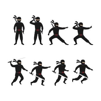 Векторный дизайн персонажа ниндзя