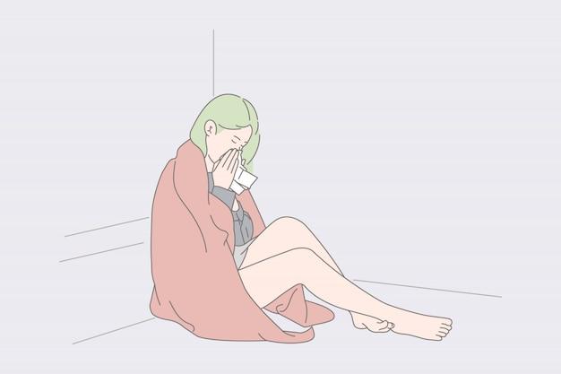Одинокая женщина сидит и плачет на полу.