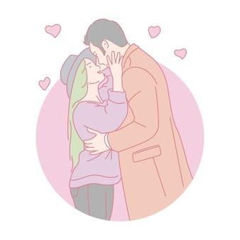 愛のキスのカップル