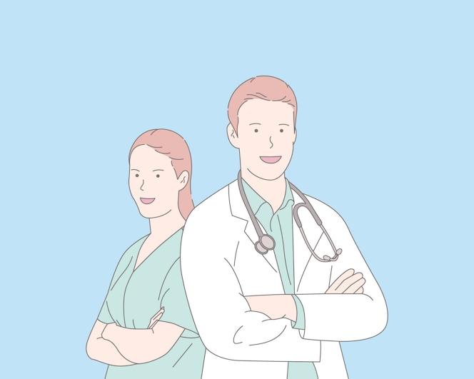 コロナウイルスの図の医師と看護師