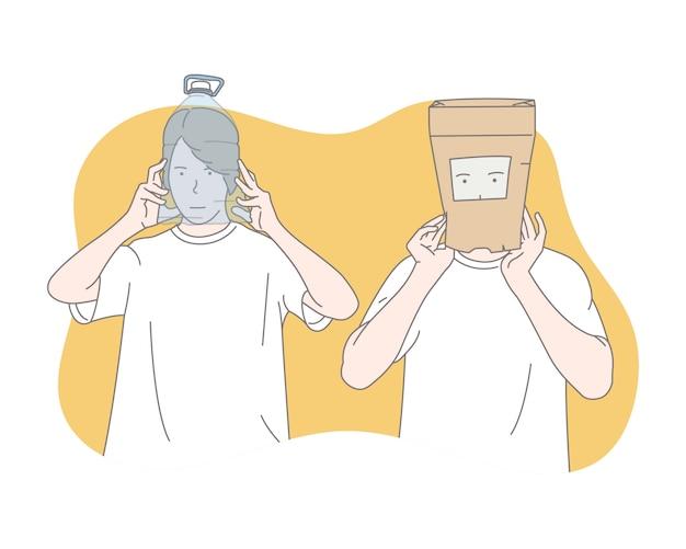 Люди, носящие защитные маски для предотвращения коронавируса, концепция иллюстрации