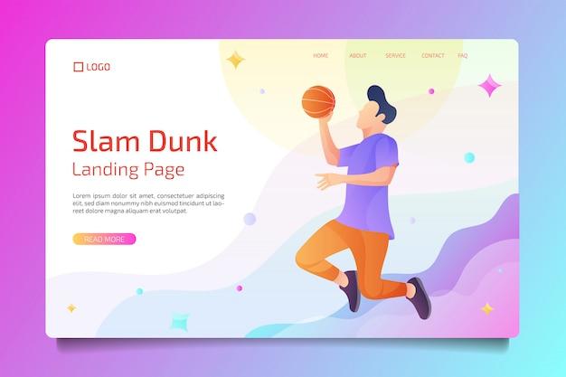 フラットスタイルのバスケットボールスポーツのランディングページ