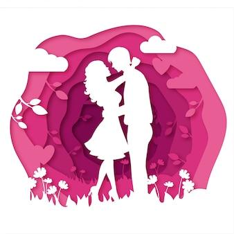 結婚式の招待・バレンタインカードのカップルダンス紙カットスタイルベクトル