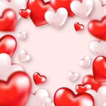 Симпатичные красные розовые сердца с днем святого валентина шаблон карты