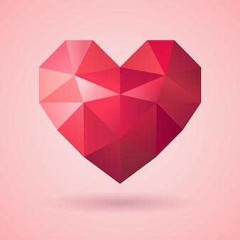 クリスタルハート、バレンタイン背景テンプレート、愛、ダイヤモンドハート