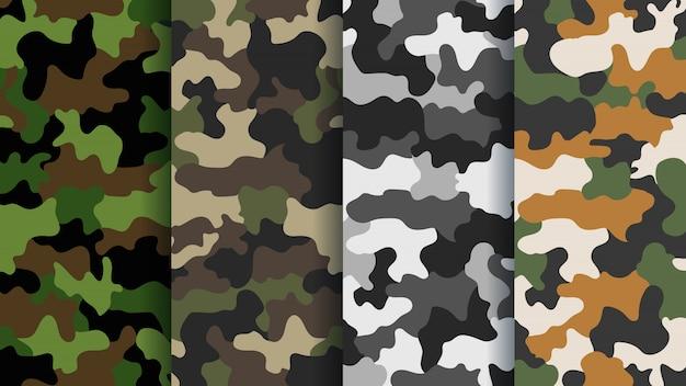 Текстура военный камуфляж бесшовные модели. абстрактная армия и охота маскировка камуфляж бесконечный орнамент фона. яркие цвета текстуры леса. иллюстрация