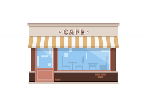 フラットスタイルのカフェショップビル