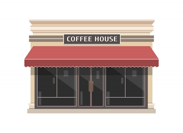Иллюстрация здания кафе в плоском стиле