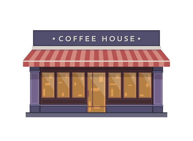 フラットスタイルのコーヒーショップ建物図