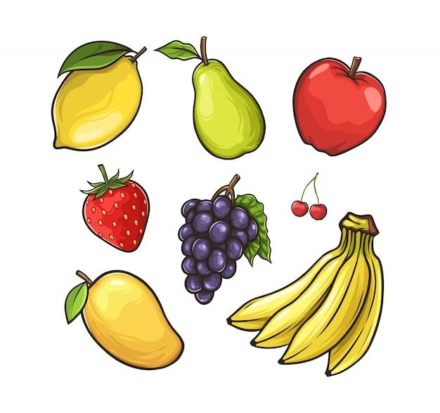 白で隔離されるフルーツのセット