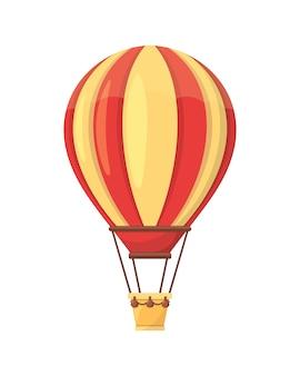 白で隔離され、平らな熱気球