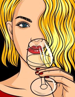 ポップアートコミックスタイルの図、赤い口紅とウェーブのかかった髪のブロンドの女の子