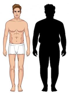 男のカラーイラスト。男性の変容。太りすぎの男性のシルエット。