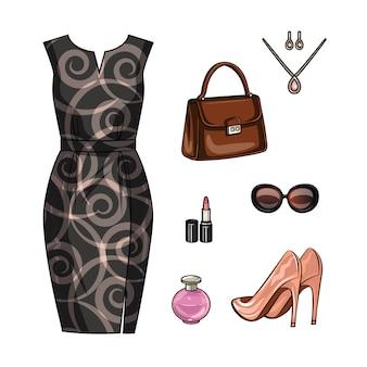 ロマンチックなデートのための女性の衣装の色の現実的なイラスト。エレガントな女性服と分離されたアクセサリーのセット