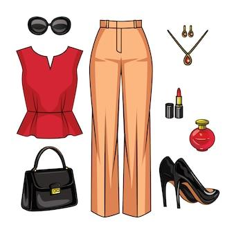 女性の服の色の現実的なイラスト。ファッショナブルな女性の服と分離されたアクセサリーのセット