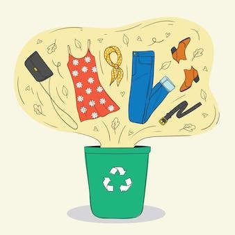 古い服や靴のリサイクルに関するスタイルのカラーイラスト。婦人服は箱の中を飛びます。