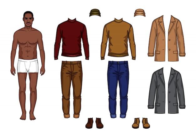 服のセットを持つ男性の紙人形
