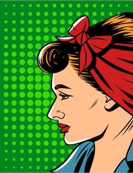 コミックポップなアートスタイルで女性の顔のベクトルイラスト。レトロなスタイルのきれいな女性