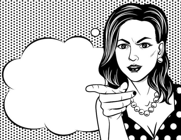 ポップアートスタイルで女性の顔の黒と白のベクトルイラスト。レトロなスタイルでかなり感情的な女性が怒っています。