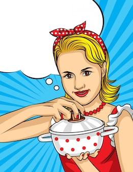 コミックアートスタイルの主婦のカラフルなベクトルイラスト。ブロンドの髪と美しい女性が料理しています。