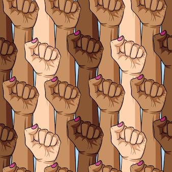 女性の拳のさまざまな国籍と肌の色のシームレスなパターンをベクトル。女の子パワー