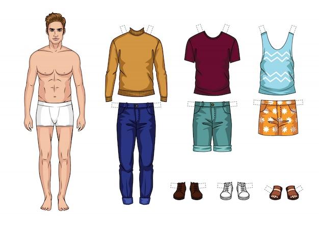 分離されたファッショナブルな男性の服のベクトルカラフルなセット。夏服で漫画スタイルの男紙人形