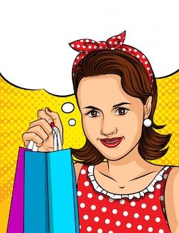 ストアからバッグを手に保持しているポップアートスタイルの女性の色ベクトルイラスト。