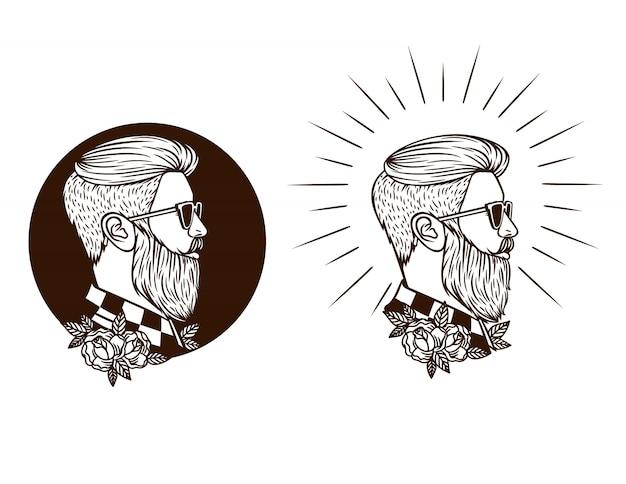 ひげとヒップスターの黒と白のセット