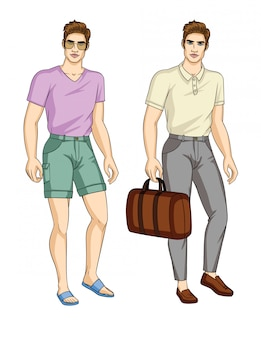 スタイリッシュな服装の男のセット